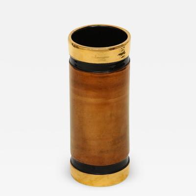 Rosenthal Netter Rosenthal Netter Bitossi Vase Gold Copper Metallic Signed Italy 1960s