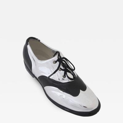 Rosenthal Netter Rosenthal Netter Porcelain Ceramic Shoe Silver Black Signed Taiwan 1970s