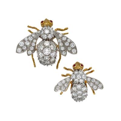 Rosenthal Rosenthal Diamond Bee Brooches pair