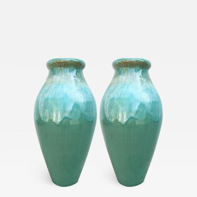 Roseville Pottery Pair of Massive Roseville Ohio Co Ceramic Jadiniers Turquiose Hand Painted