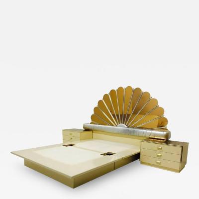 Rougier Bronze Mirrored Queen Platform Bed and Nightstands by Rougier
