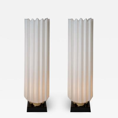 Rougier Pair of 1970s fluted lamps by Rougier