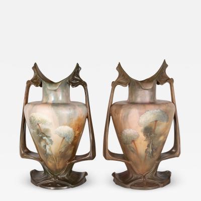 Royal Bonn Pair of Art Nouveau Hand Painted Sculptural Ceramic Vases by Royal Bonn