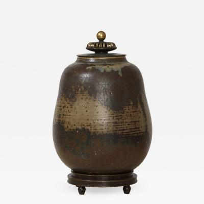Royal Copenhagen Exceptional Sung Glazed Jar with Bronze Lid by Carl Halier