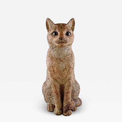 Royal Copenhagen Large rare ceramic sculpture in red clay Cat Caesar Heavy and solid quality