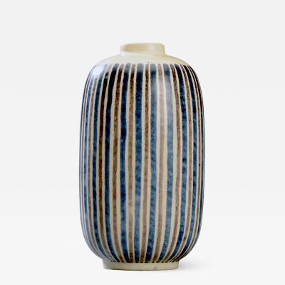 Royal Copenhagen Modernist Blue and Brown Striped Vase by Gunnar Nylund