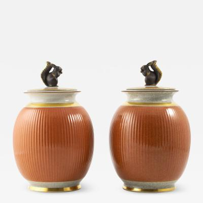 Royal Copenhagen PAIR OF LARGE ROYAL Cph LIDDED CRAKLE GLAZE VASES WITH SQUIRREL DECORATION