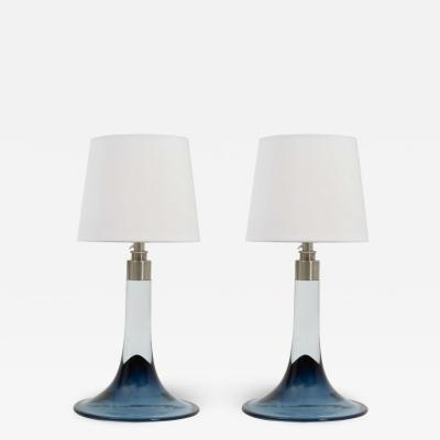 Royal Copenhagen Pair Of Vintage Glass Table Lamps by Royal Copenhagen