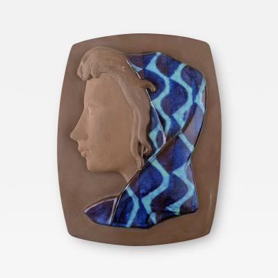 Royal Copenhagen Relief in ceramics with woman in profile