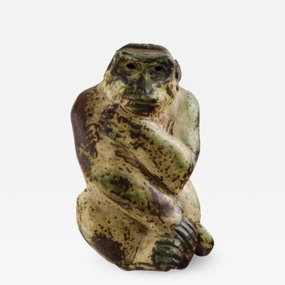 Royal Copenhagen Stoneware figure monkey Sung glaze