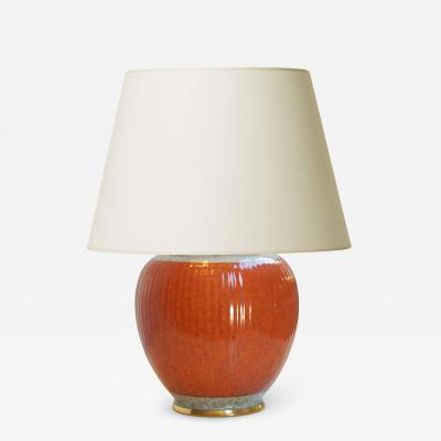 Royal Copenhagen Table lamp with orange craquelure glaze by Royal Copenhagen