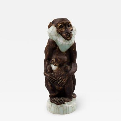Royal Copenhagen Very rare Jeanne Grut for Royal Copenhagen Monkey with young number 4647