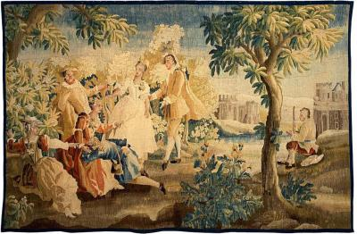 Royal Manufacture of Aubusson Sublime Aubusson Tapestry 18th Century Louis XVI Period Romantic Scene