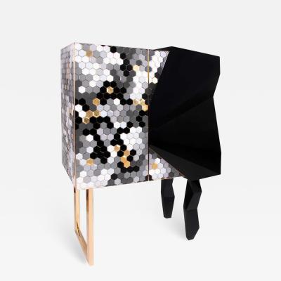Royal Stranger Honeycomb Black and Gold Leaf Cabinet Royal Stranger