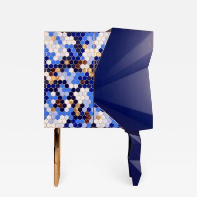 Royal Stranger Honeycomb Blue and Gold Leaf Cabinet Royal Stranger