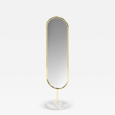 Royal Stranger Polished Brass and Marble Floor Mirror Royal Stranger