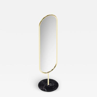 Royal Stranger Polished Brass and Nero Marquina Marble Floor Mirror Royal Stranger