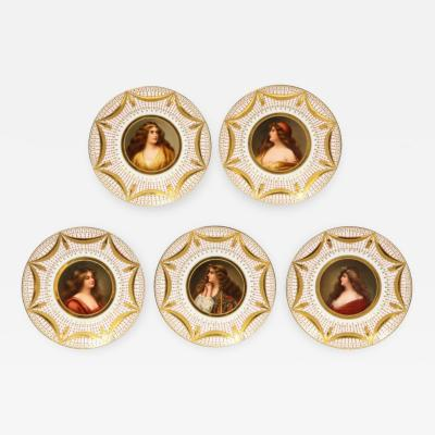 Royal Vienna Porcelain Exceptional Set of Five Royal Vienna Jeweled Porcelain Portrait Plates by Wagner