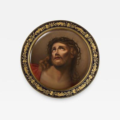 Royal Vienna Porcelain Monumental 19th Century Royal Vienna Porcelain Cobalt Charger of Jesus Christ