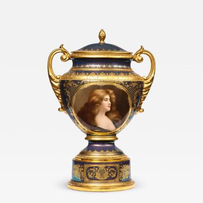 Royal Vienna Porcelain Monumental Royal Vienna Iridescent Porcelain Portrait Vase and Cover circa 1880