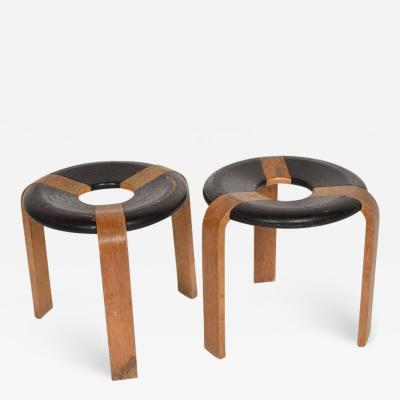 Rud Thygesen Johnny S rensen Mid Century Modern Pair of Vintage Donut Stools by Rud Thygesen J Sorensen