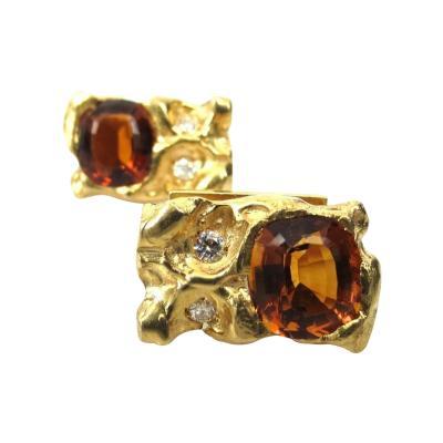 Ruser Jewelry William Ruser VINTAGE 18KT YELLOW GOLD RUSER CUFFLINKS DIAMOND AND CITRINE