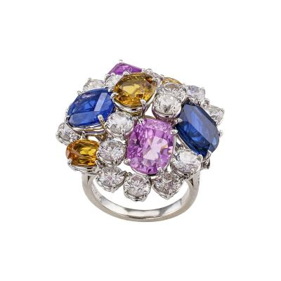Ruser Ruser Diamond Sapphire Platinum Cocktail Ring