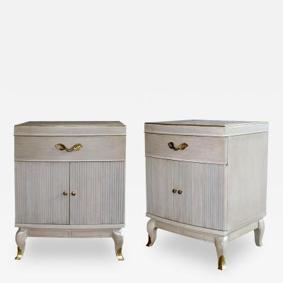 Rway Furniture Co Solid Pair of Cerused Oak Bowfront Bedside Cabinets by Rway Furniture