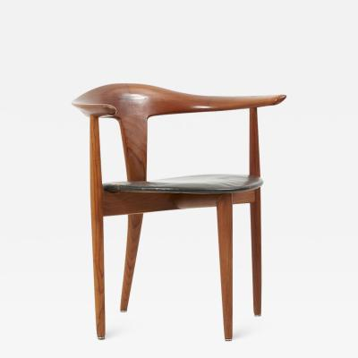 S A Andersen Erik Andersen and Palle Pedersen Chair in Teak and Leather by Erik Andersen Palle Pedersen Denmark 1960s