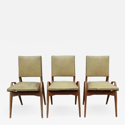 S galot 3 French 1950s Oak Chairs by S galot