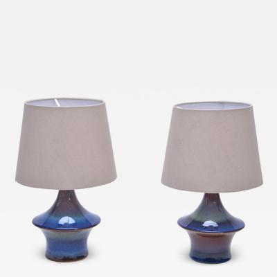 S holm Stent j Soholm ceramics Pair of Blue Danish Mid Century Modern table lamps by Soholm