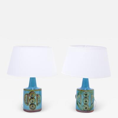 S holm Stent j Soholm ceramics Pair of Blue Mid Century Modern Stoneware table Lamps model 1203 by S holm
