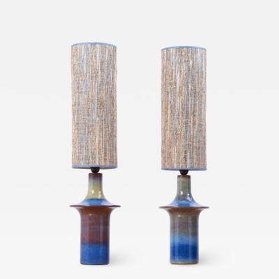 S holm Stent j Soholm ceramics Pair of Large Blue Ceramic Table Lamps by Soholm Denmark 1960s