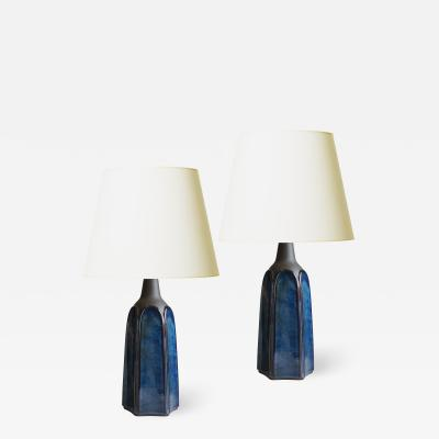 S holm Stent j Soholm ceramics Pair of Mod Lamps with Blue Luster Glaze by Soholm