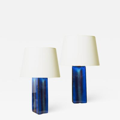 S holm Stent j Soholm ceramics Pair of table lamps in deep blue by S holm Stentoj