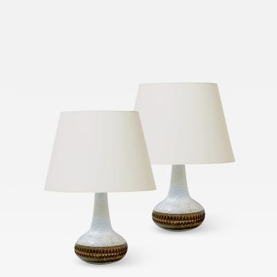 S holm Stent j Soholm ceramics Pair pf Table Lamps with Intaglio Detail by S holm Stentoj