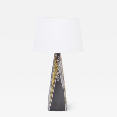 S holm Stent j Soholm ceramics Tall Black Danish Midcentury Ceramic Table Lamp by Holm Sorensen for S holm