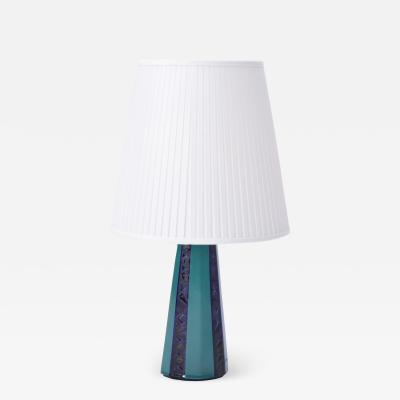 S holm Stent j Soholm ceramics Tall Danish Mid Century Modern Green and Blue Table Lamp from S holm
