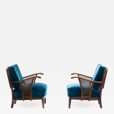 S ren Hansen Soren Hansen Pair of Scandinavian Lounge Chairs Attributed to Soren Hansen for Fritz Hansen