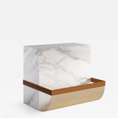 SECOLO Ambrogio Marble side table and magazine rack designed by Artefatto Design Studio