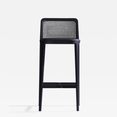 SIMONINI Minimal Style Bar Stool in Solid wood Textiles or Leather Seat Black finish