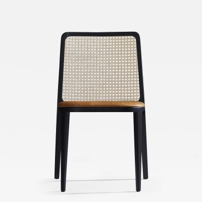 SIMONINI Minimal Style Solid Wood Chair Leather or Textile Seating Caning Backboard