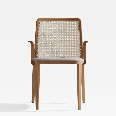 SIMONINI Minimal Style Solid Wood Chair Textile Seating Caning Backboard with Arms