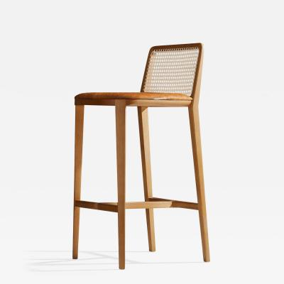 SIMONINI Minimal Style Solid Wood Stool Bar or Counter Hight Caning and Leather