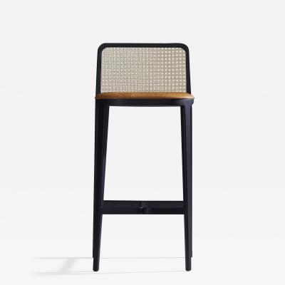 SIMONINI Minimal Style Solid Wood Stool Textiles or Leather Seatings Caning Backboard