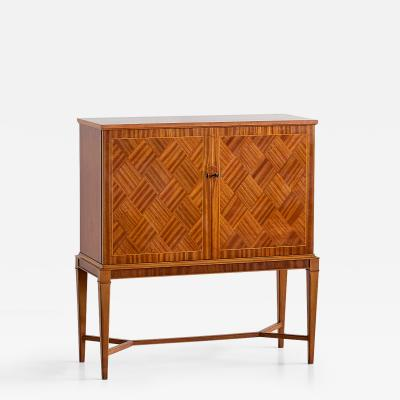 SMF Svenska M belfabriken Bodafors Carl Axel Acking Attributed Bar Cabinet with Geometric Mahogany Inlay 1940s