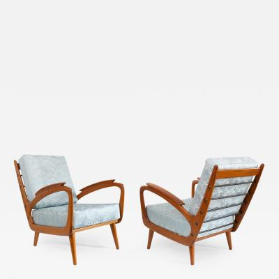 SPRIJ PAIR OF SPRIJ VLAARDINGEN MID MIDCENTRY CHERRY LOUNGE CHAIRS HOLLAND
