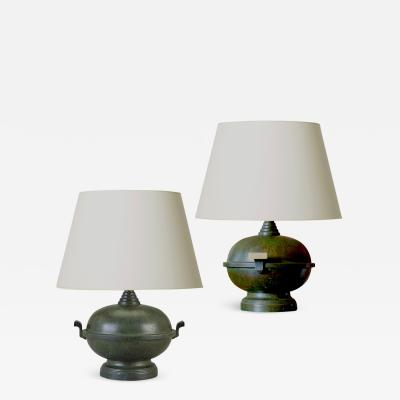 SVM Handarbete Pair of Art Deco Table Lamps Attributed to SVM