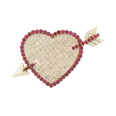 Sabbadini Sabbadini Diamond Ruby and Carved Rock Crystal Gold Heart Brooch