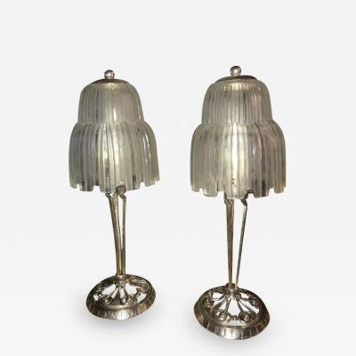 Sabino Art Glass Sabino Glass Art Deco Pair of Table Lamps